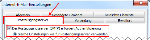 Outlook 2010 neues IMAP Mail-Konto Postausgangsserver erfordert Authentifizierung