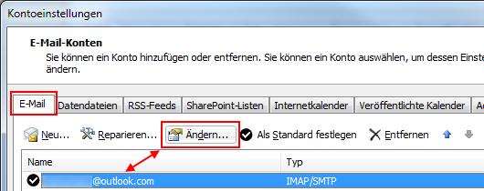 Outlook 2010 Outlook.com IMAP-Konto ändern