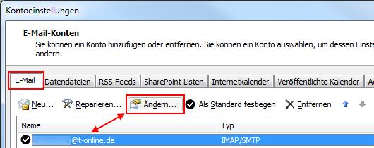 Outlook 2010 T-Online IMAP-Konto ändern