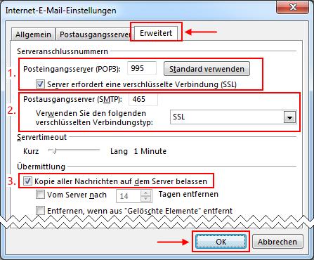Outlook 2013 neues E-Mail-Konto Server Ports und Verschlüsselung