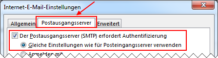Outlook 2013 neues E-Mail-Konto einrichten Postausgangsserver erfordert Authentifizierung