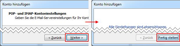 Outlook 2013 neues E-Mail-Konto hinzufügen Fertig stellen