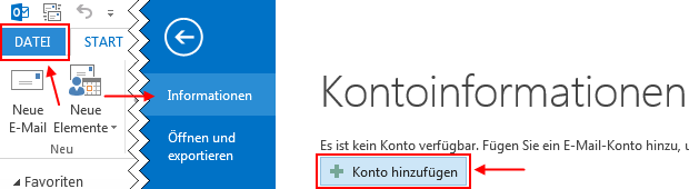 Outlook 2013 neues E-Mail-Konto hinzufügen