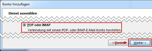 Outlook 2013 neues E-Mail-Konto Verbindung mit POP IMAP herstellen