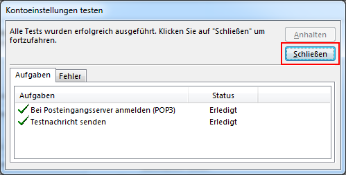 Outlook 2013 neues E-Mail-Konto POP3 Einstellungen testen