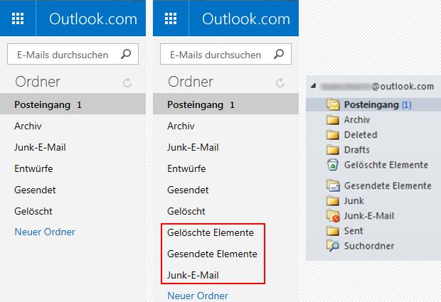 Outlook.com Standard-IMAP-Ordner und Outlook 2010 eigene Ordner