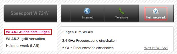 Speedport W 724V Heimnetzwerk WLAN-Einstellungen