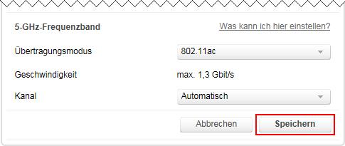 Speedport W 724V WLAN-Einstellungen im 5 GHz Frequenzband