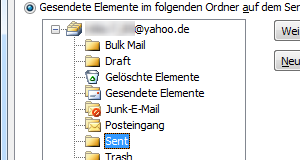 Yahoo-Mail IMAP-Ordner in Outlook 2010 zuweisen