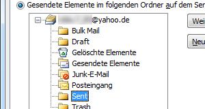 Yahoo-Mail IMAP-Ordner in Outlook 2010 zuweisen