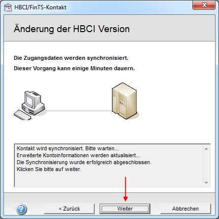 HBCI/FinTS-Kontakt: Änderung der HBCI Version erfolgreich