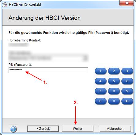 HBCI/FinTS ändern: PIN/Passwort eingeben