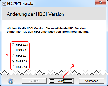 JBCI/FinTS Version auswählen