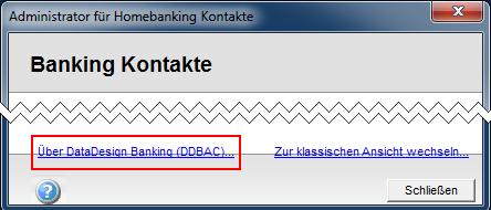 Homebanking Kontakte Datadesign Banking Version abfragen