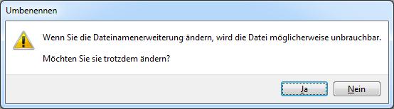 Datei umbenennen ohne Dateinamenerweiterung unbrauchbar