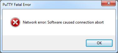 PuTTY software caused connection abort: SSH-Host Dateien gelöscht