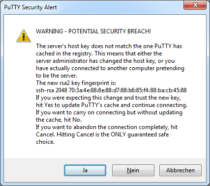 PuTTY SSH-Verbindung Raspbian security alert