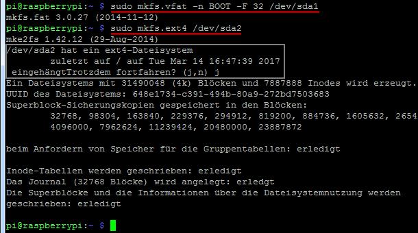 Raspberry Pi 3: USB Partitionen formatieren