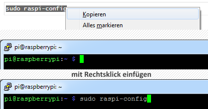 Windows Text kopieren, in PuTTY einfügen