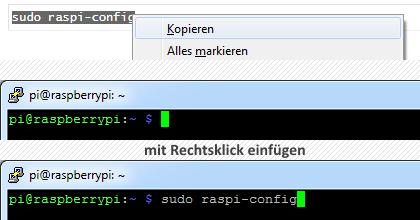 Windows Text kopieren, in PuTTY einfügen