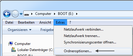 Windows 7 Explorer: Extras > Ordneroptionen