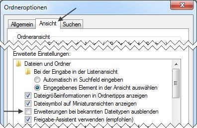 Windows Ordneroptionen: Erweiterungen bei bekannten Dateitypen ausblenden
